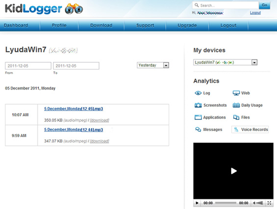 Recorded voices Analytics on Kidlogger.net